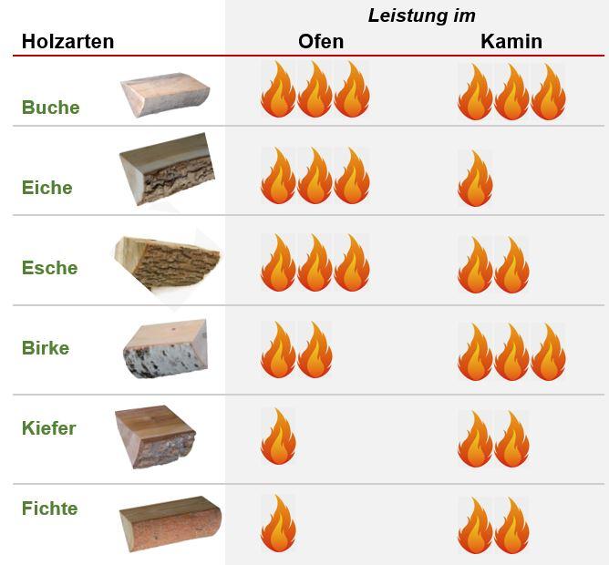 Brennholz verschiedene Holzarten im Vergleich